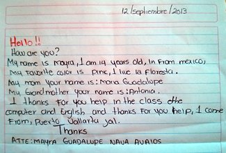 Letter from Myra to her school sponsors